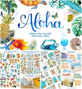 Summer watercolor Aloha illustrations and patterns