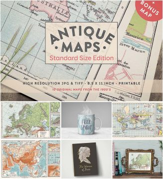 Antique maps set