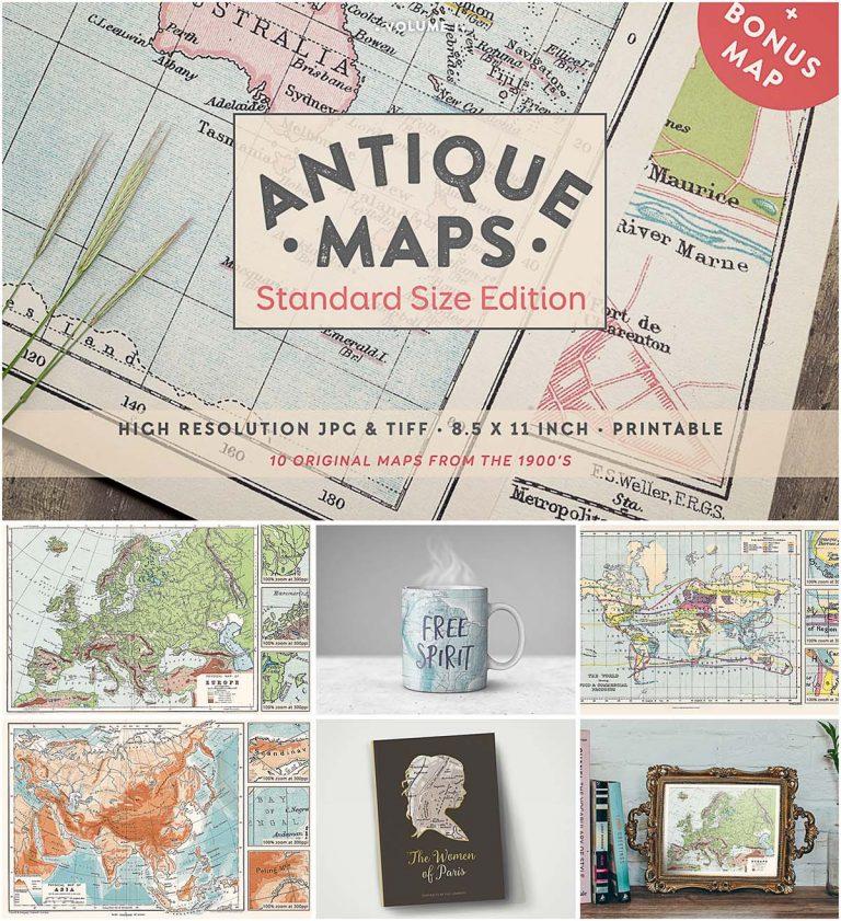 Antique maps set