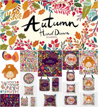 Cute autumn illustrations and pattern