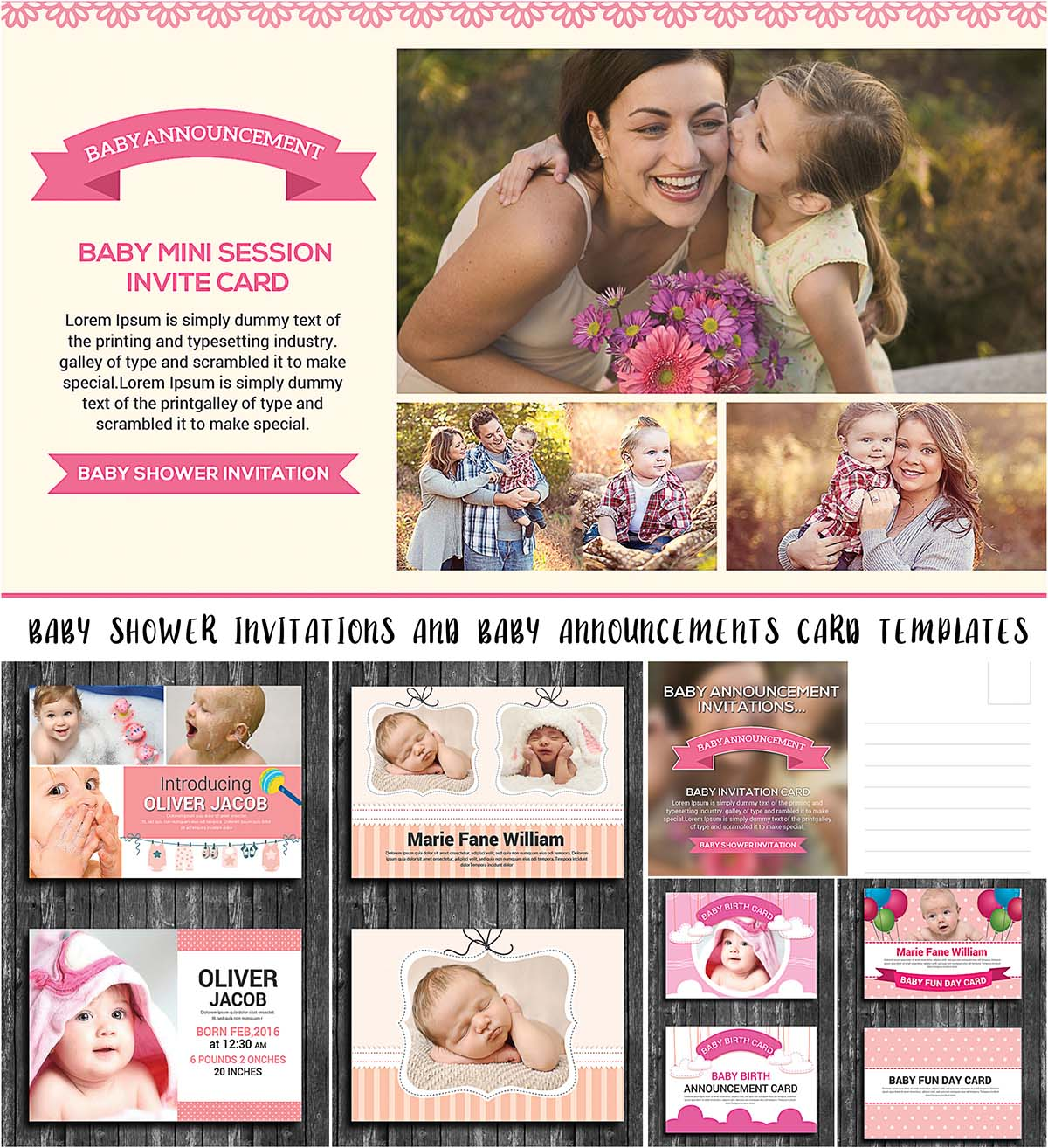 Baby announcement cards and baby shower templates