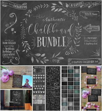 Chalkboard elements and backgrounds big bundle
