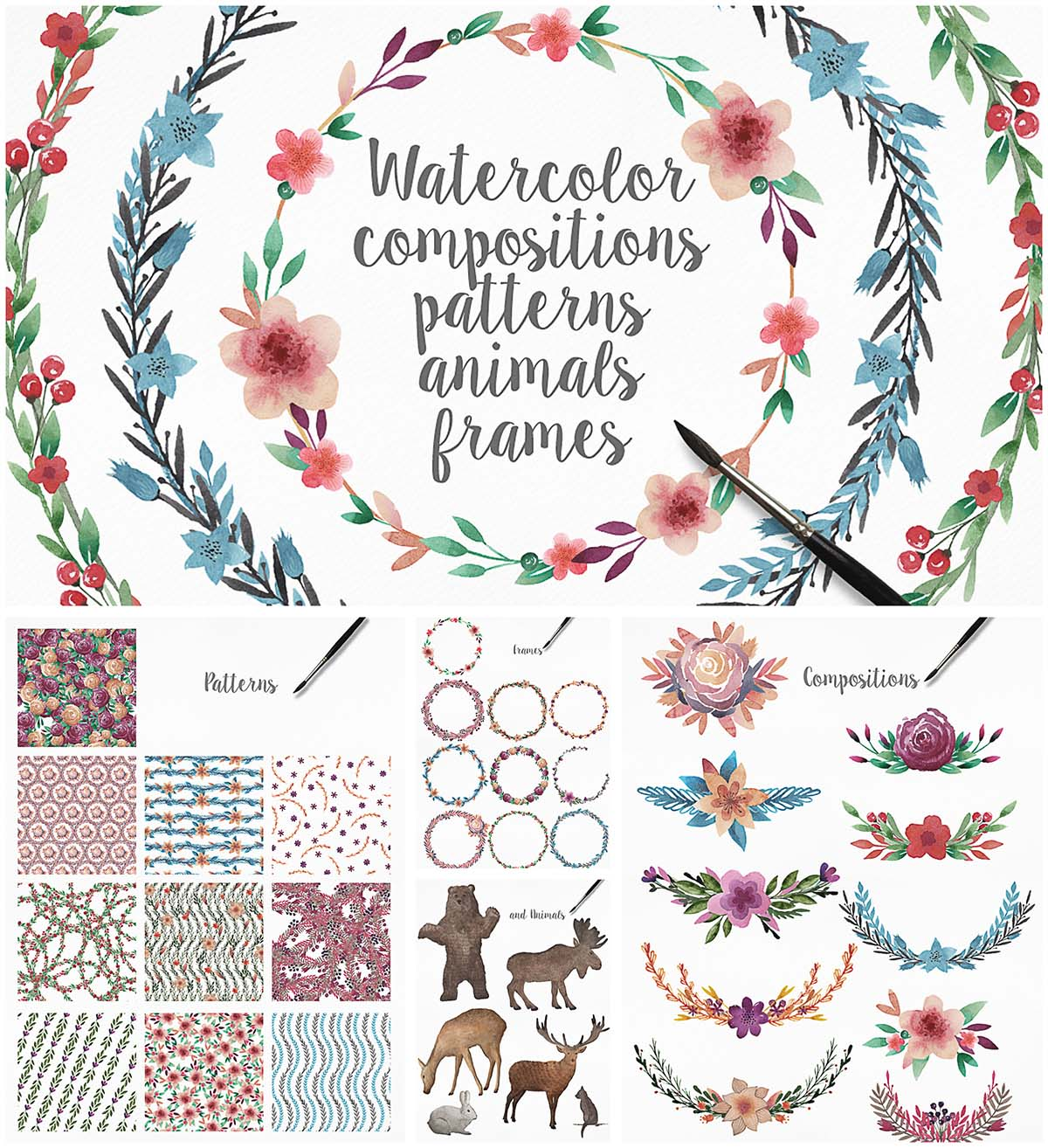 Watercolor patterns and frames bundle