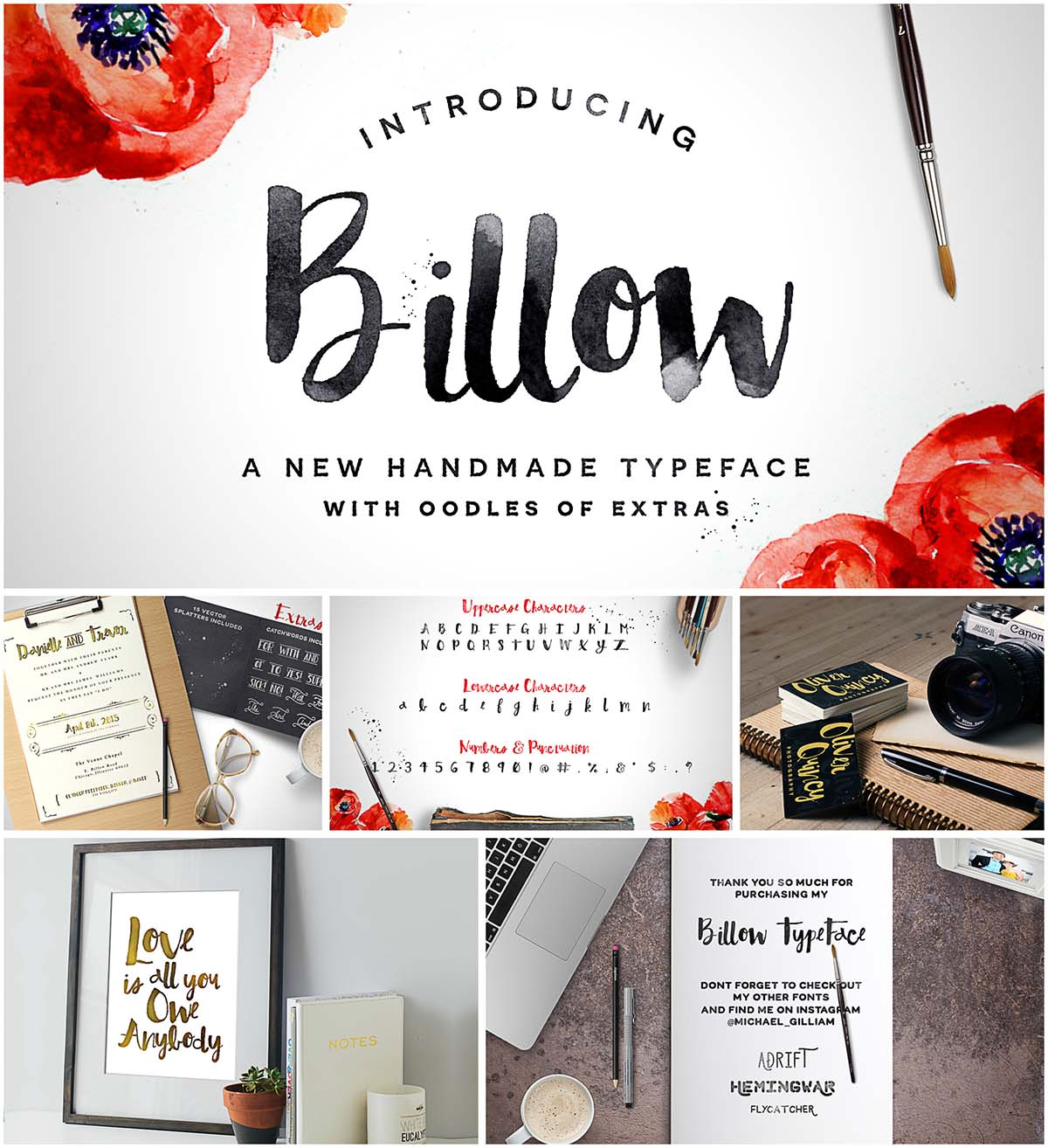 Billow hand lettered brush font
