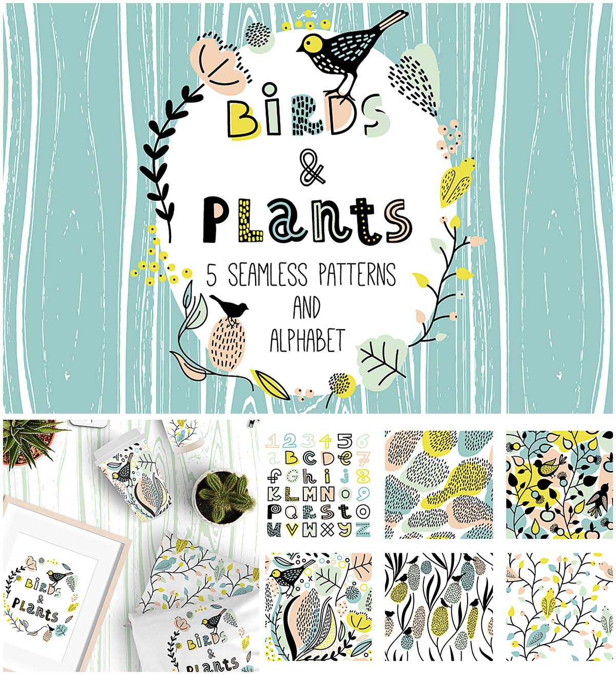Cute birds and plants illustrations and patterns