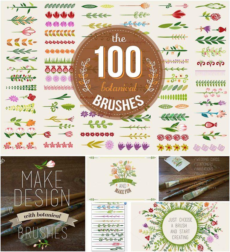 100 colorful botanical brushes set