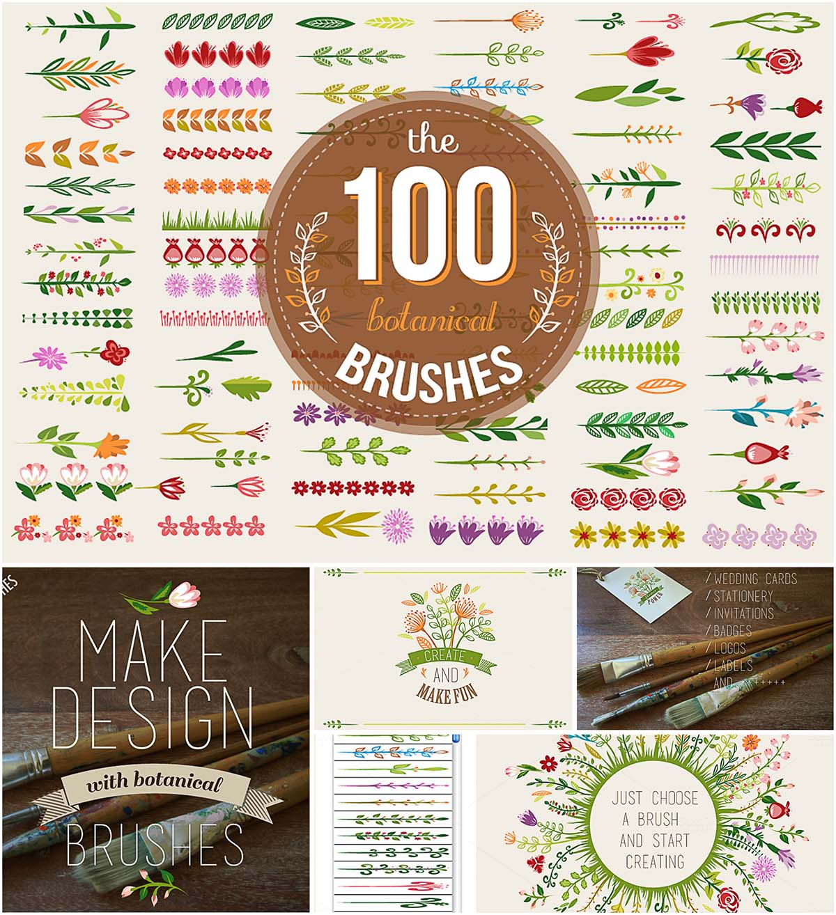 100 colorful botanical brushes set