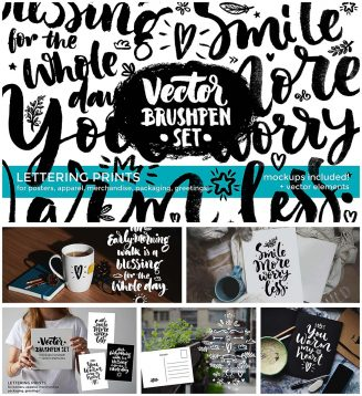Brushpen vector set with mockup