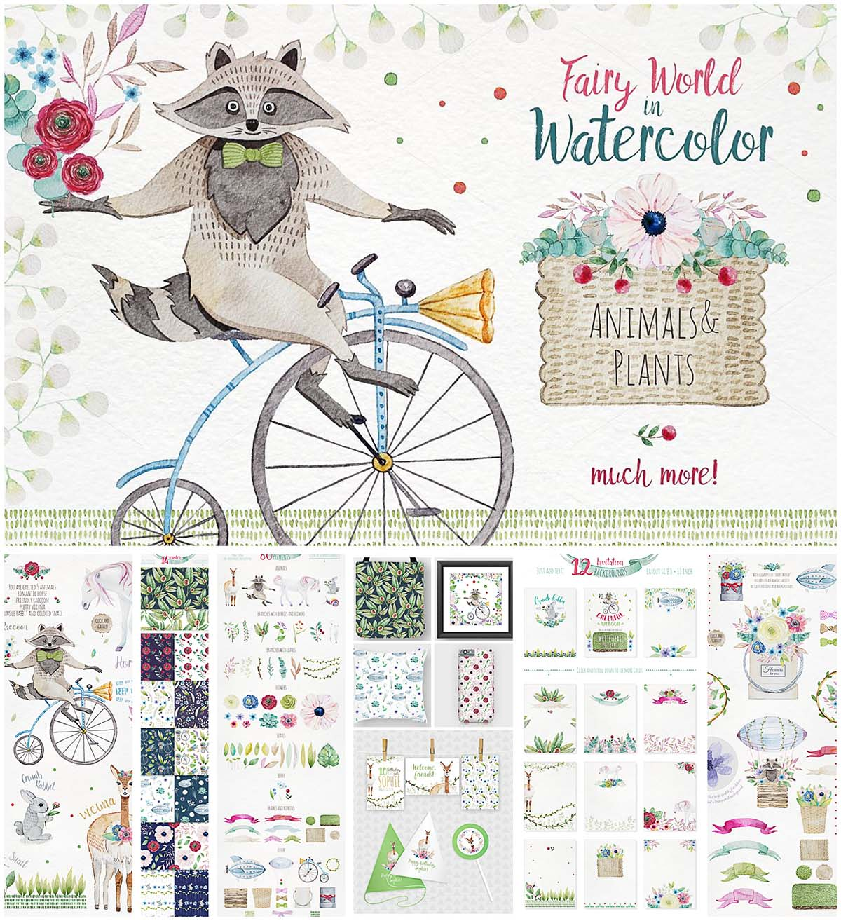 Magical hand painted animals and plants