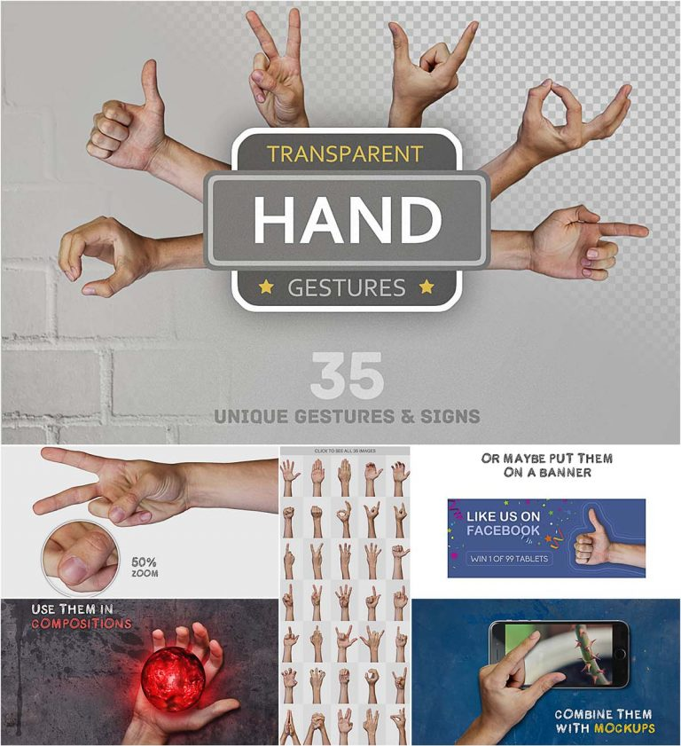 Hands signs and gestures set