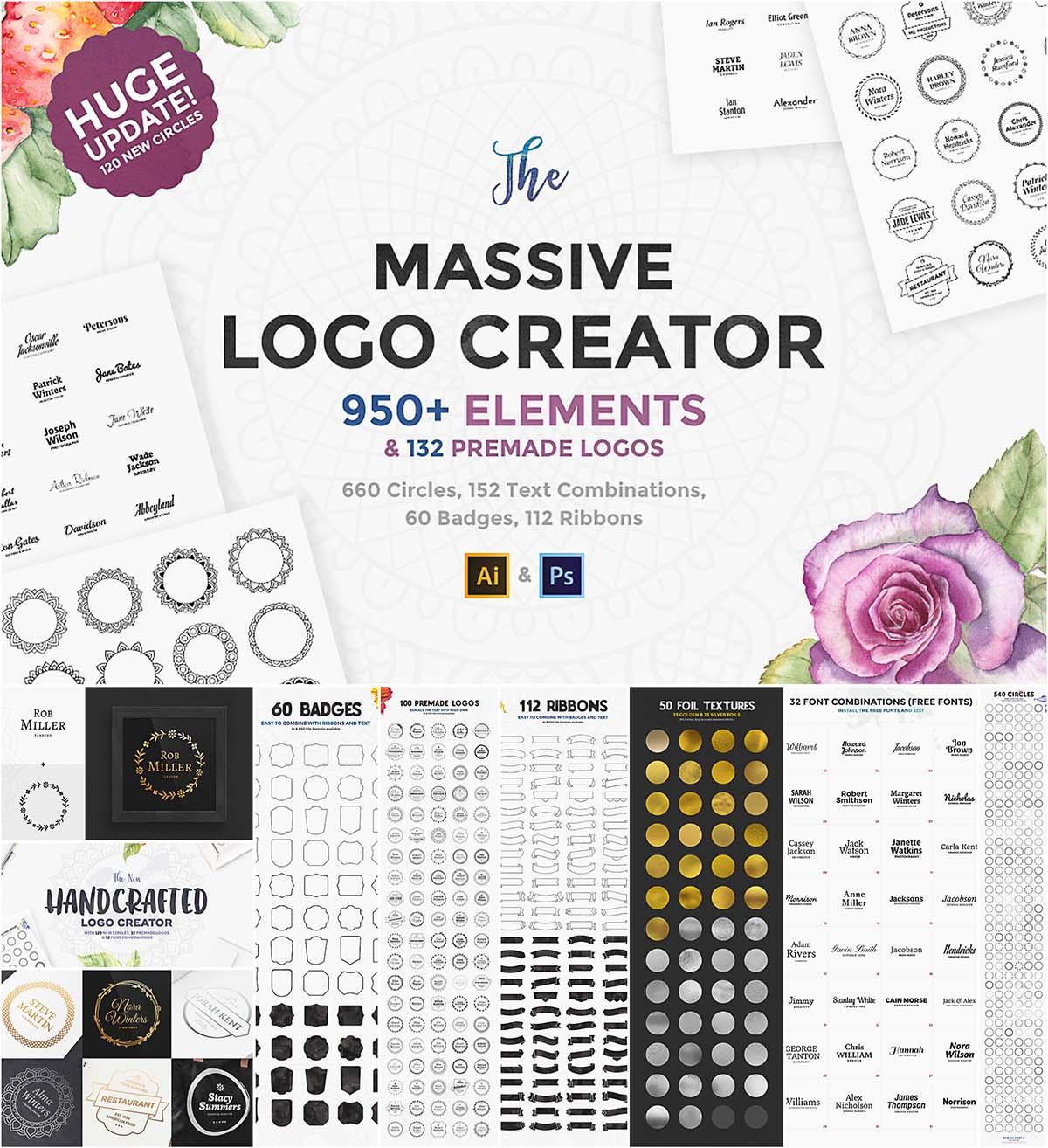 Massive logo creator set