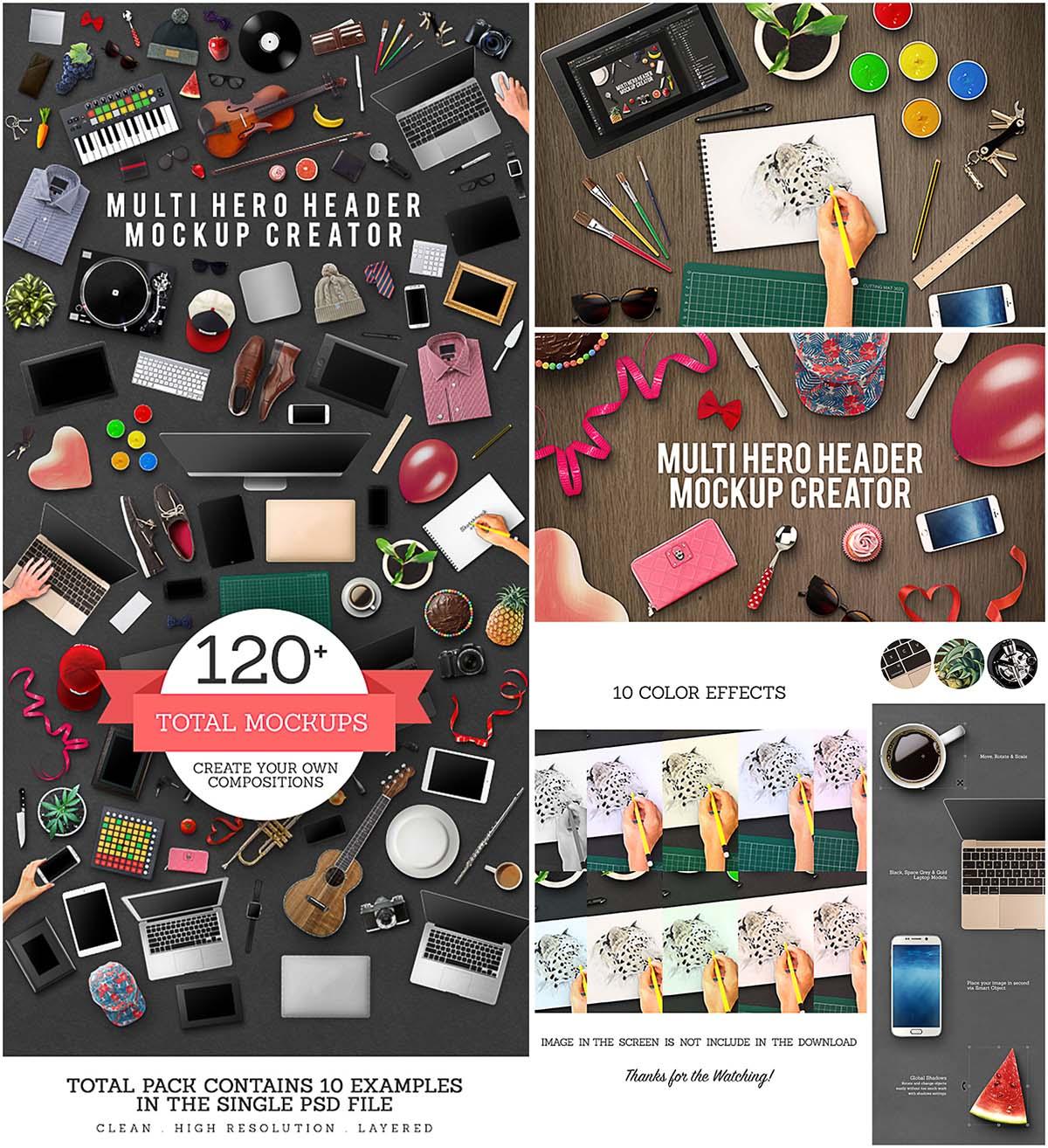 Multi hero Mock-up creation kit