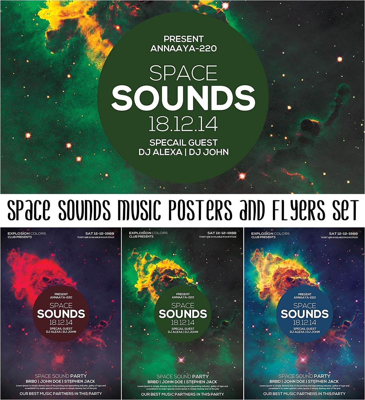 Space sounds music flyer set