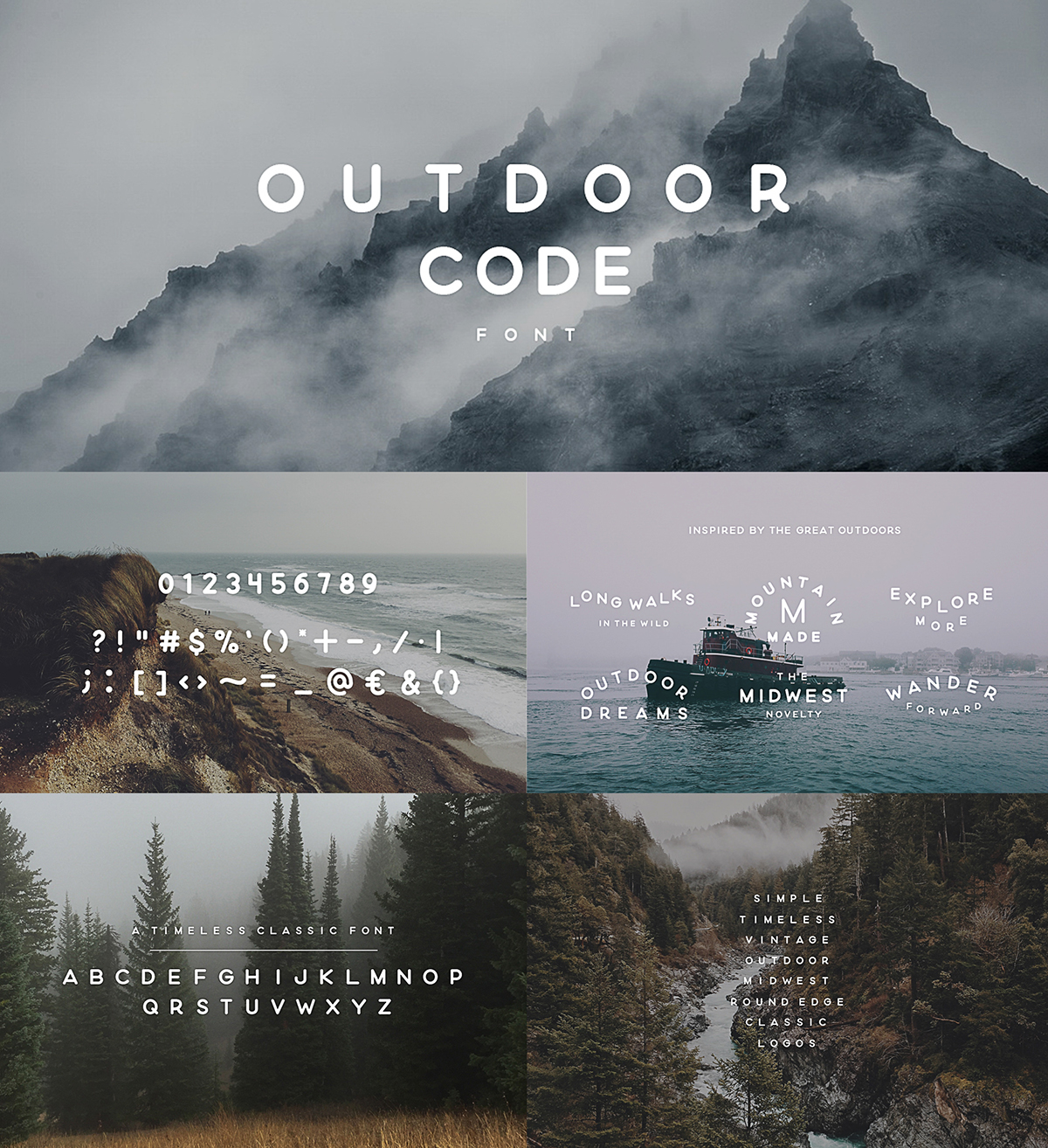 Outdoor code creative font