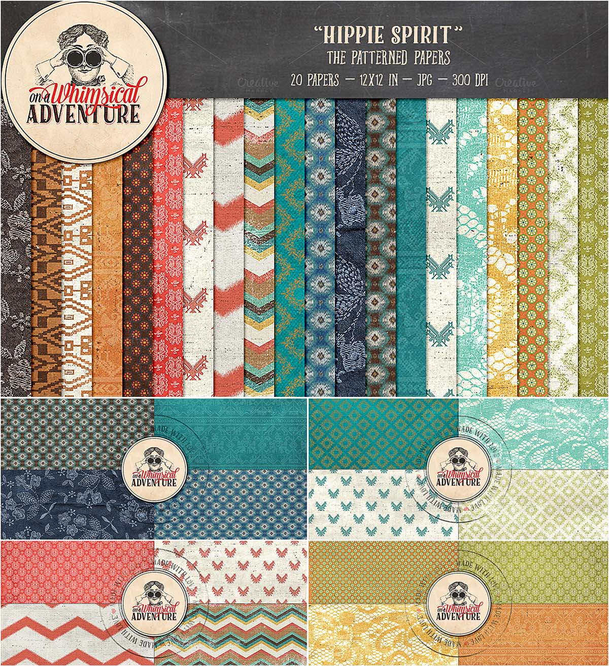 Hippie patterned papers