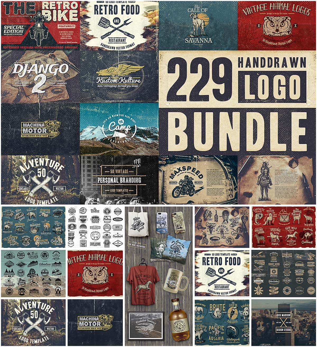 Vintage hand drawn logo and badges bundle