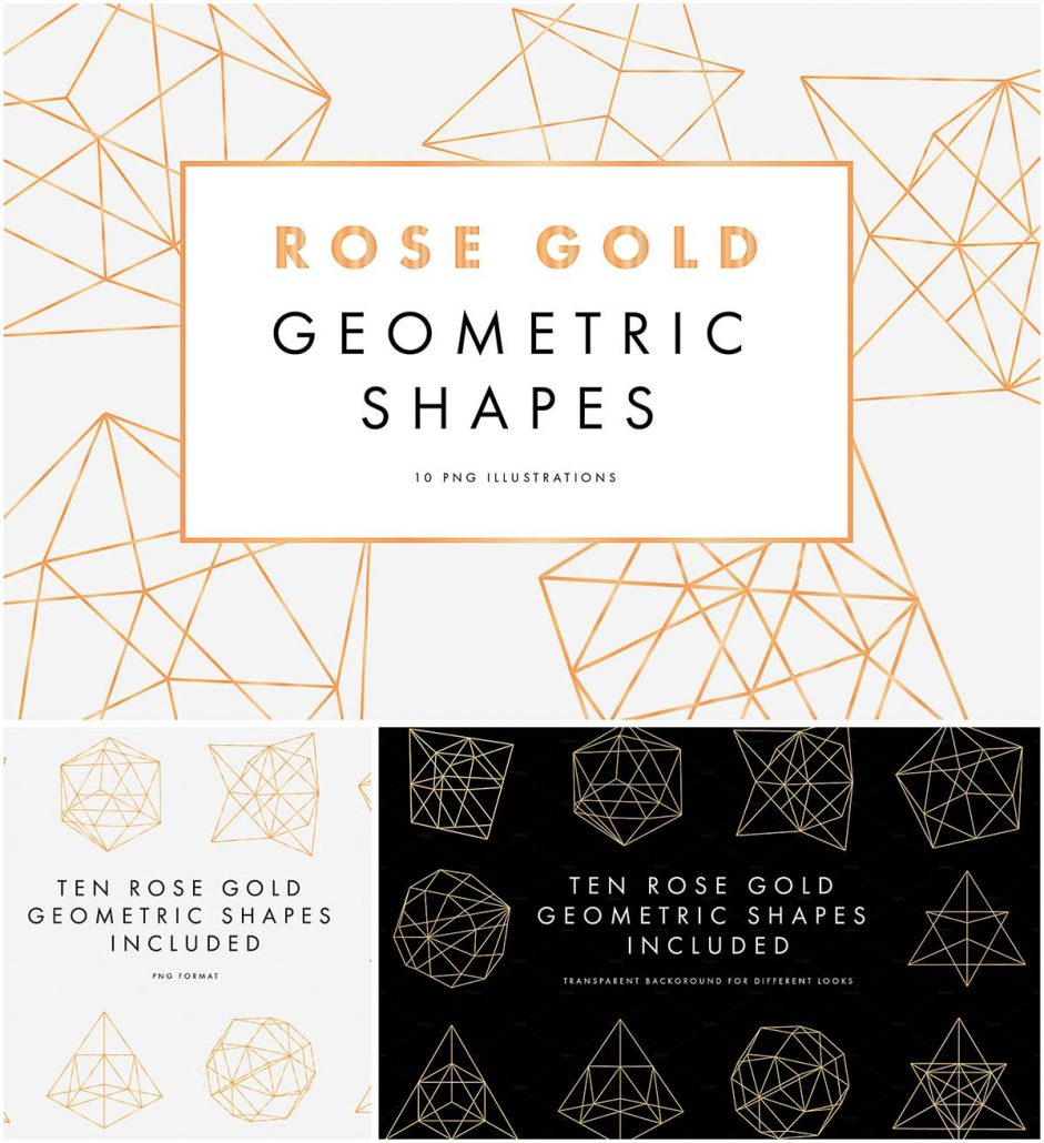 rose gold geometric shapes collection | free download