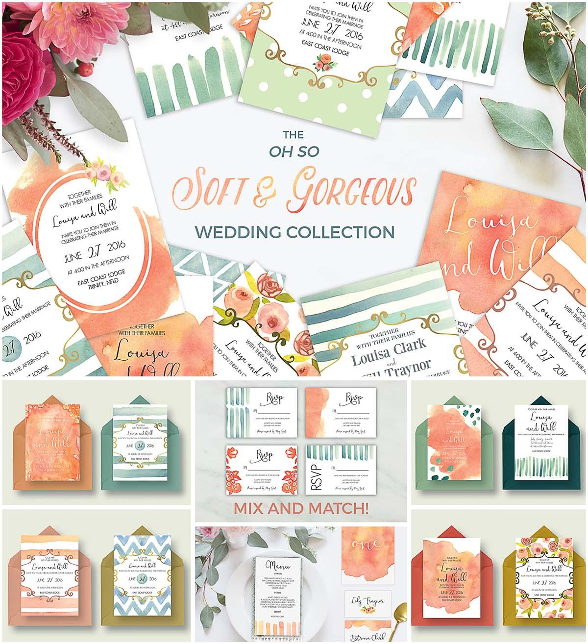 Soft wedding invitation cards set