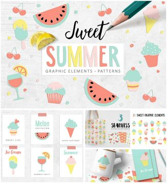Sweet summer clipart set