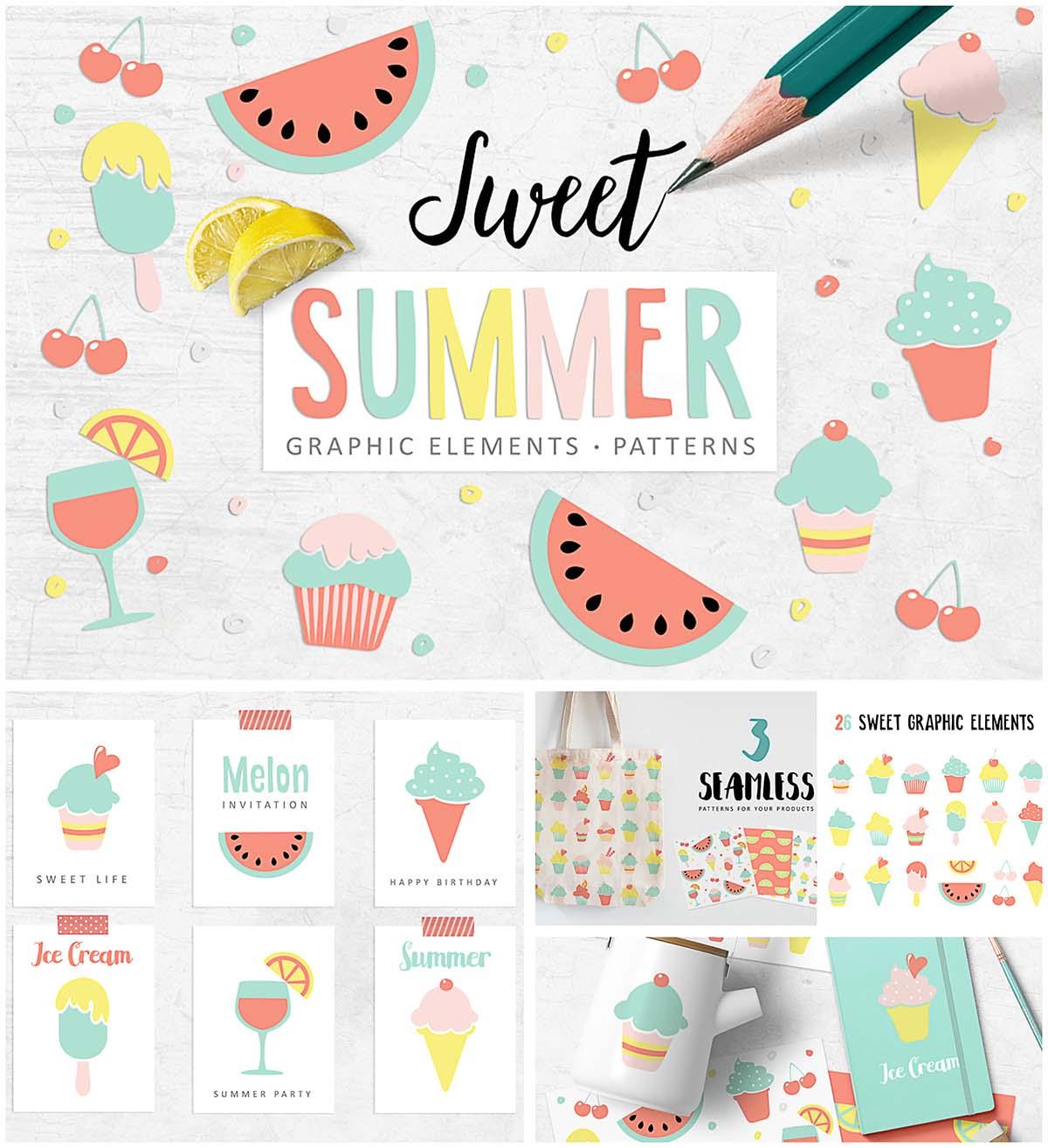Sweet summer clipart set