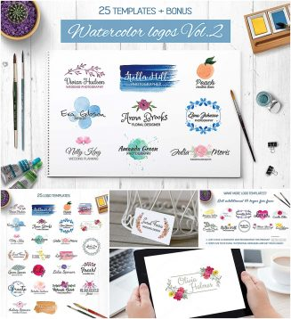 Watercolor logotype templates