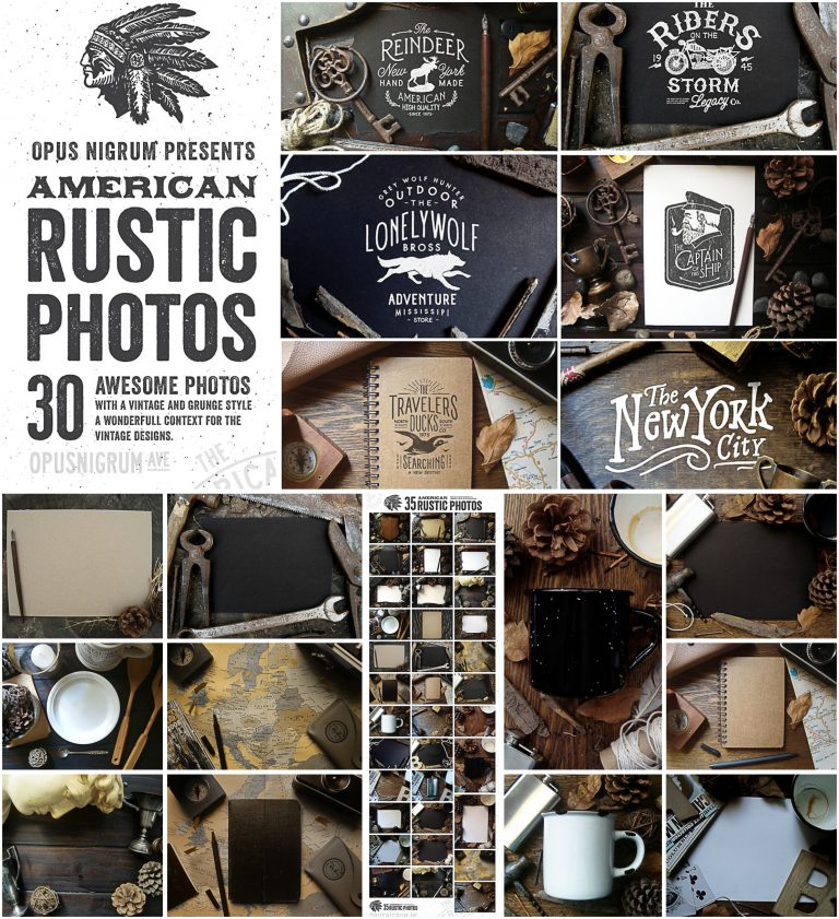 Autentic american rustic photos set