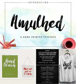 Amulhed hand painted typeface