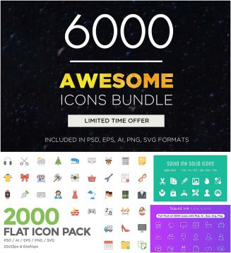 Big bundle of 6000 flat icons