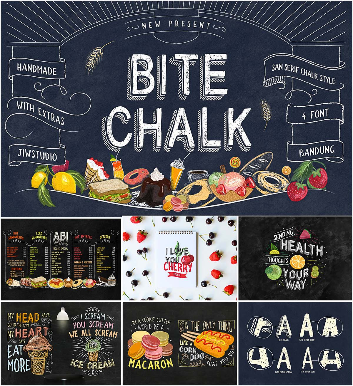 Bitechalk typeface with extra