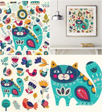 Cat and birds vector illustrations set