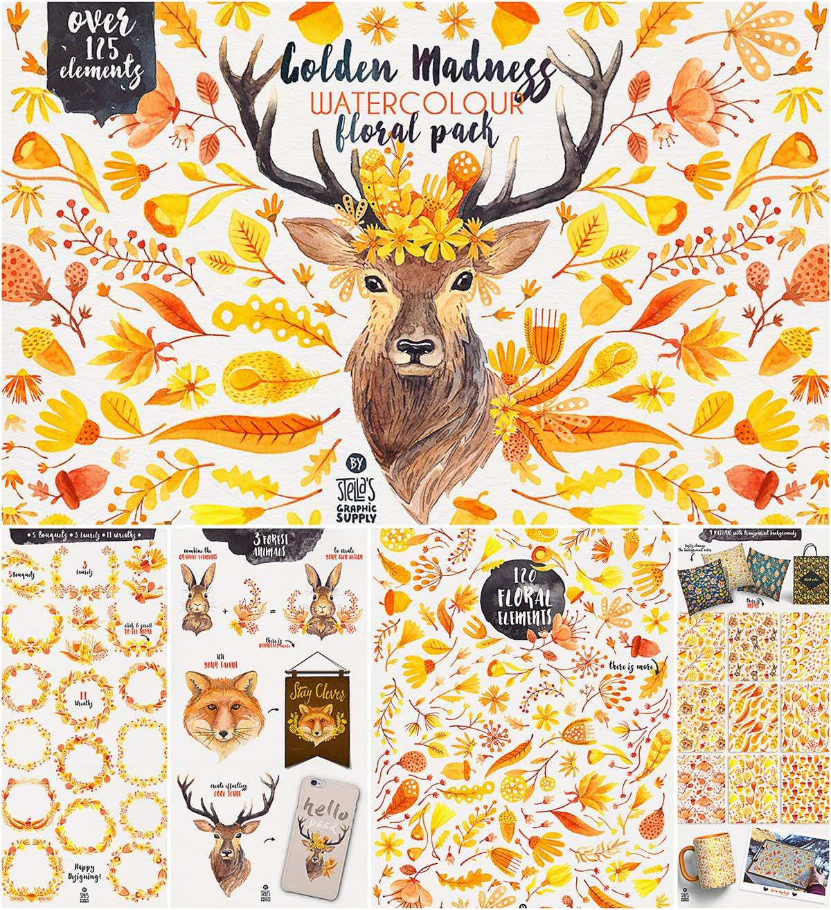 Golden madness watercolor illustrations set