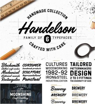 Handelson cyrillic 6 fonts