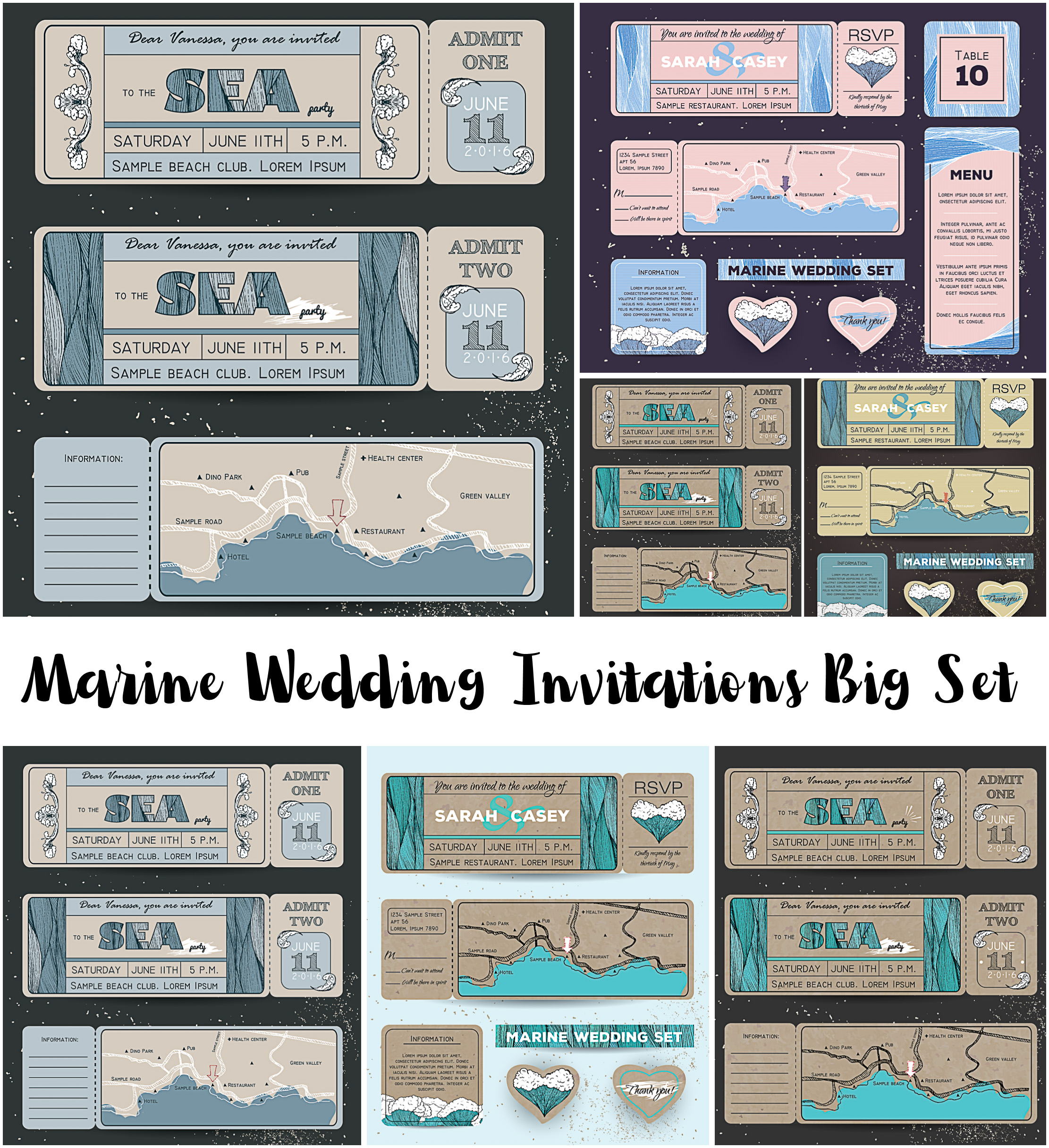 Marine Wedding Invitations Set