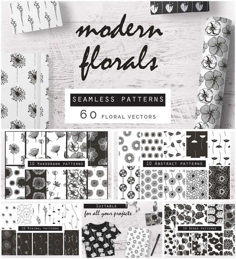 Monochrome flower pattern set