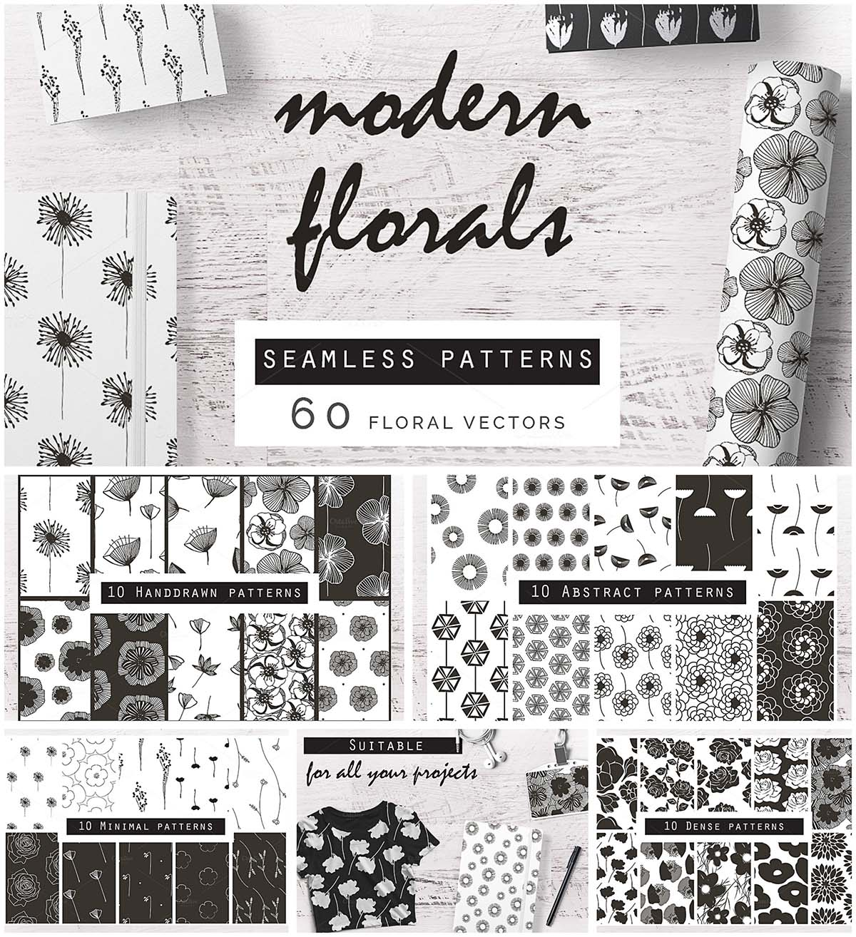 Monochrome flower pattern set