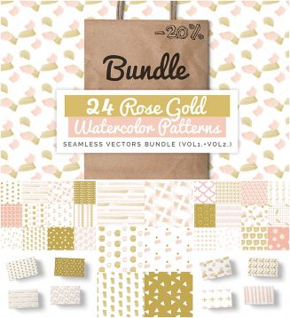 24 rose gold patterns set