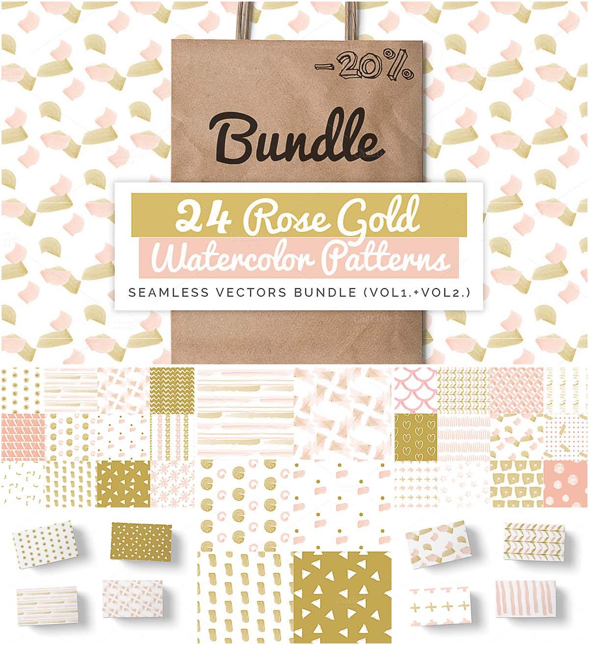24 rose gold patterns set