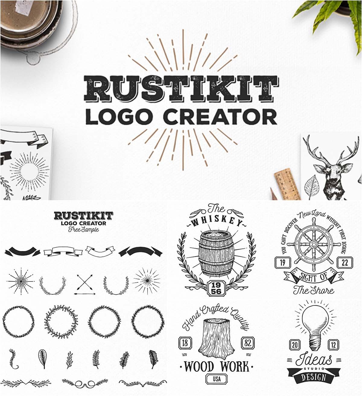 Rustikit logo creator set | Free download