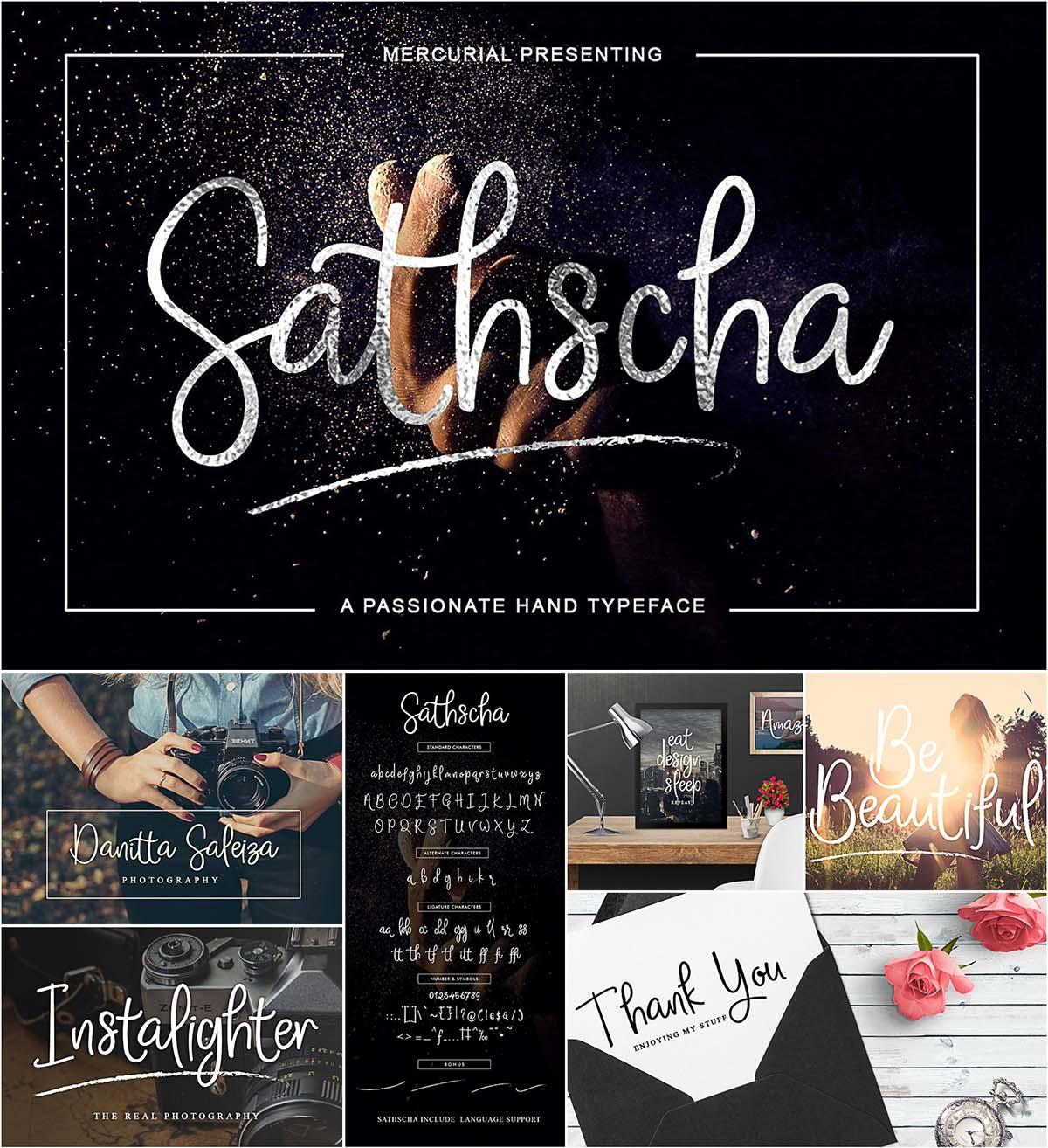 Sathsca handwritten font