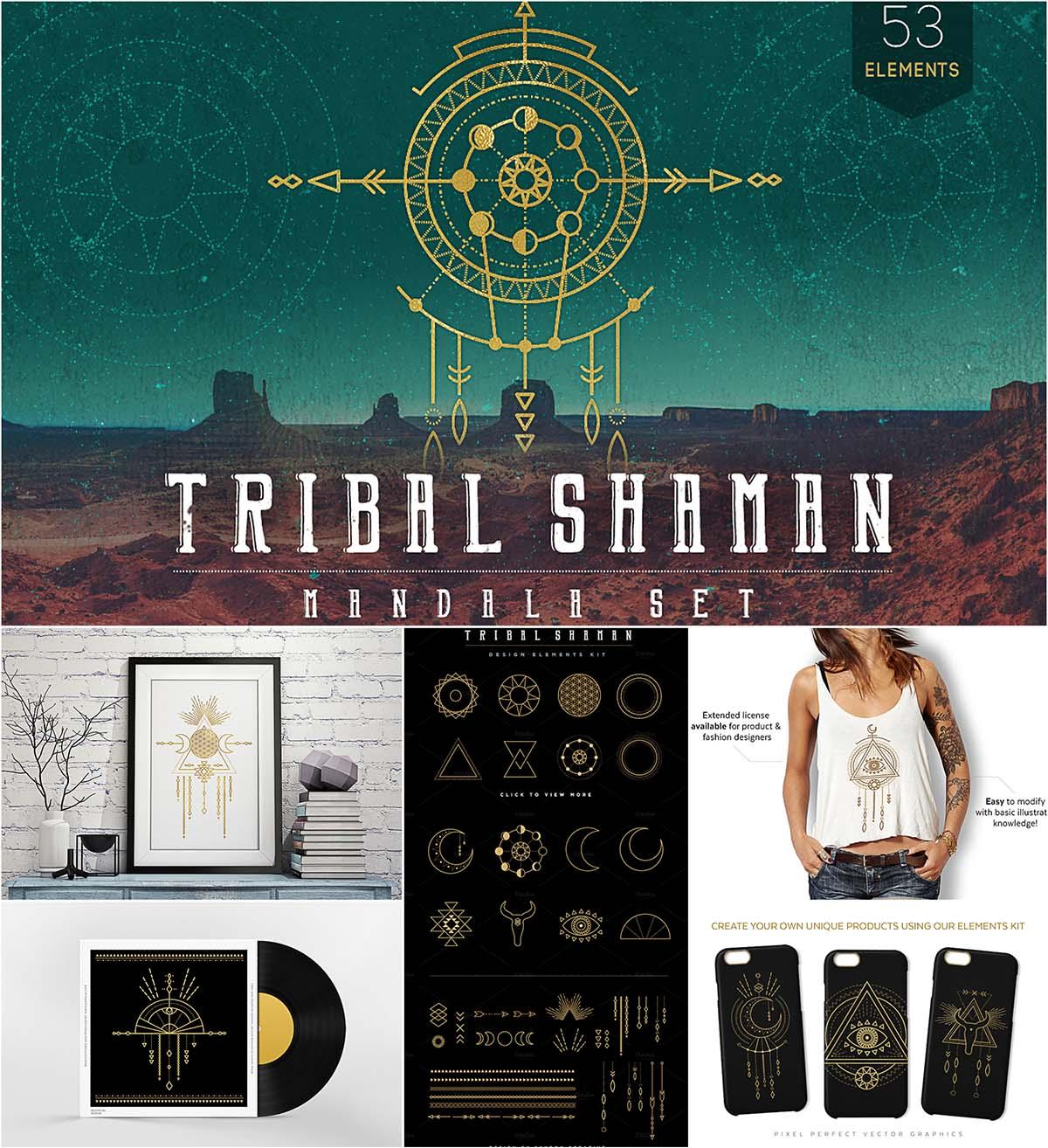 Tribal shaman mandala vector set