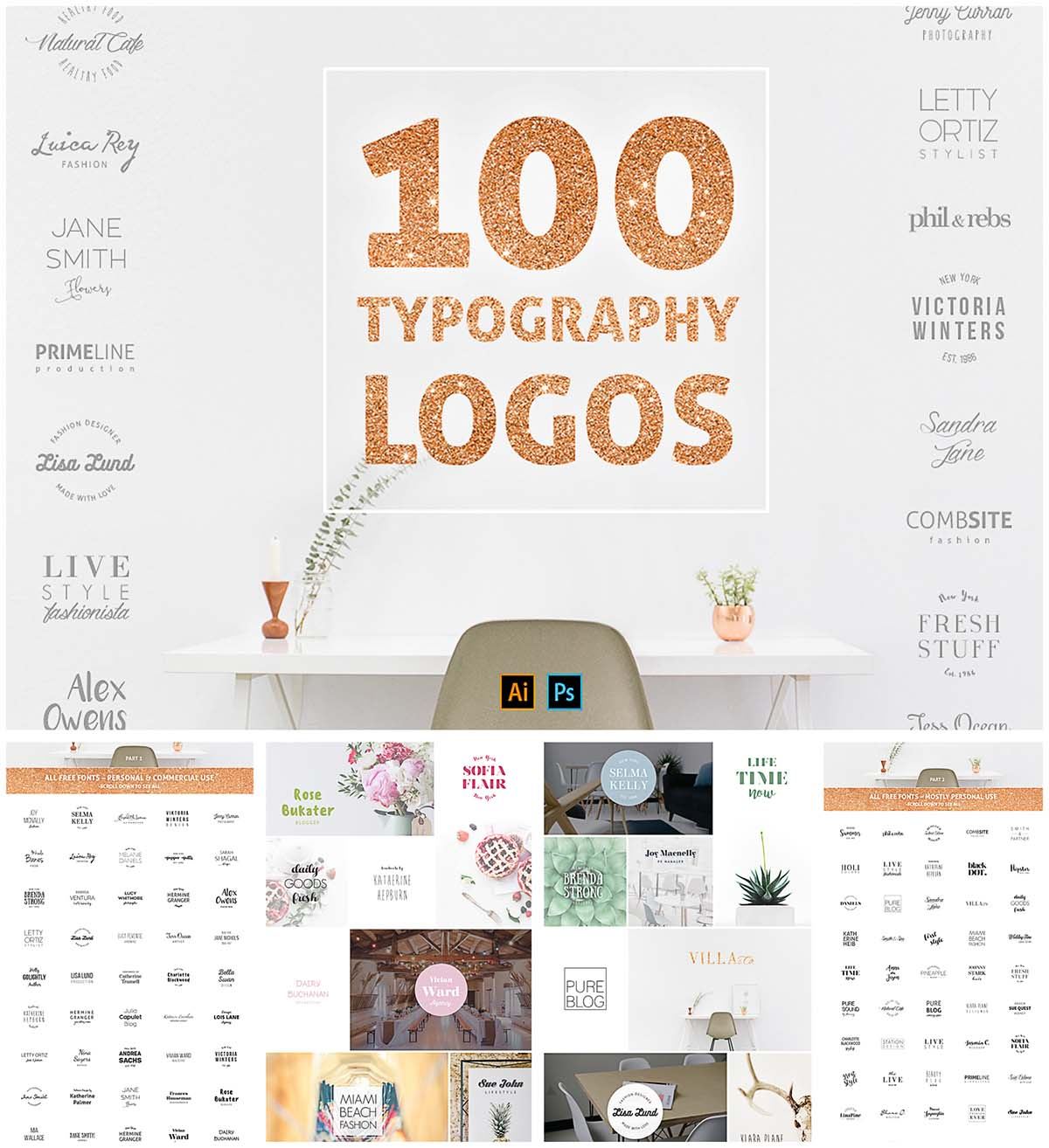 100 typography logo design