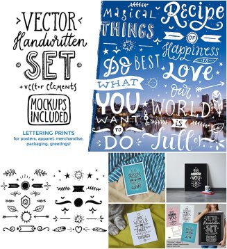 Vector handwritten set with mock-ups
