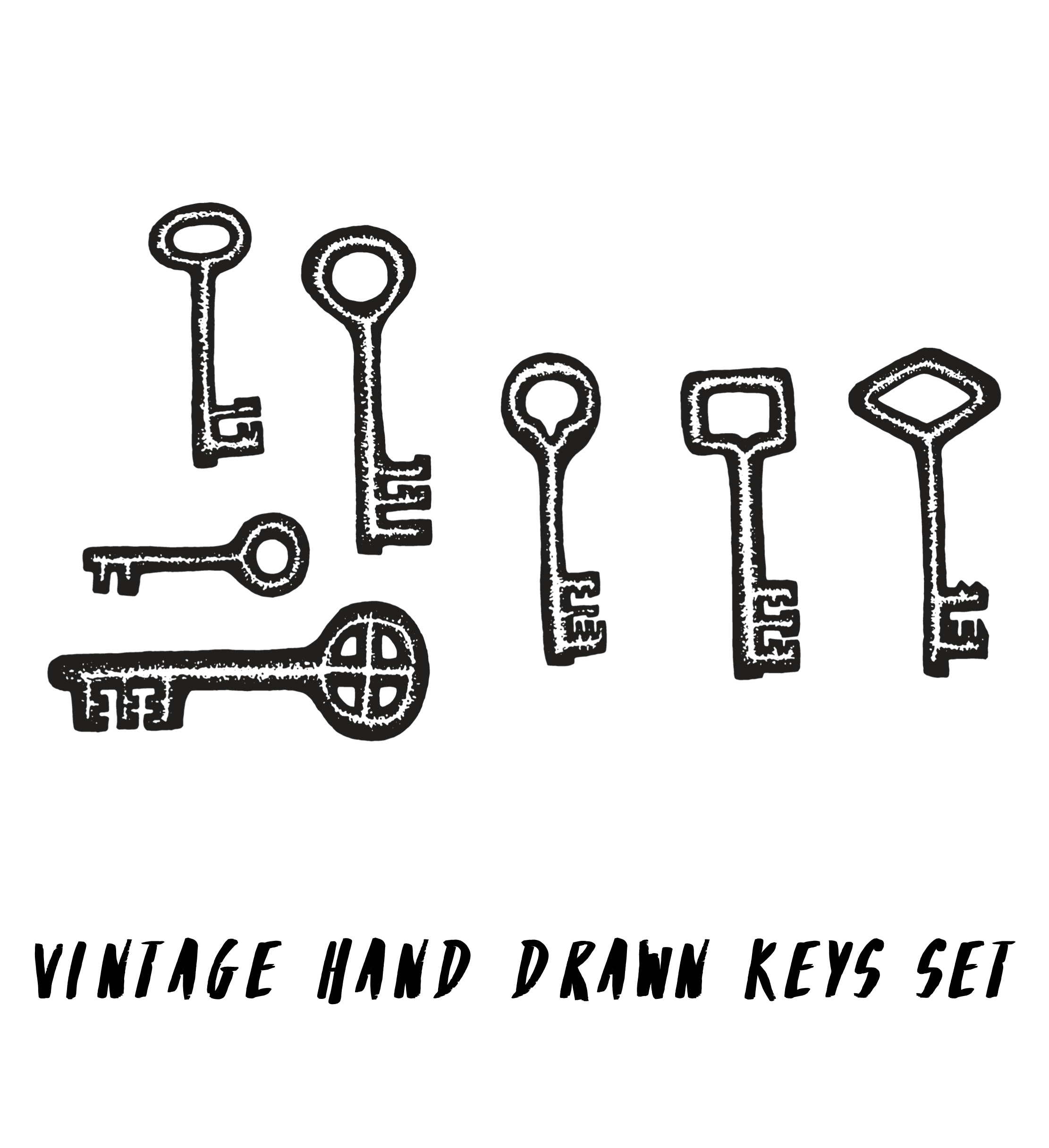 Hand drawn keys set