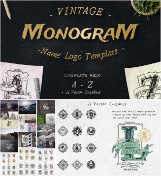 Retro monogram logotype set
