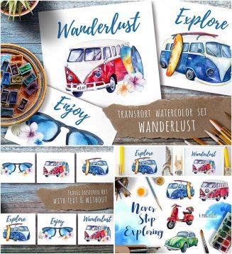 Watercolor travel retro set