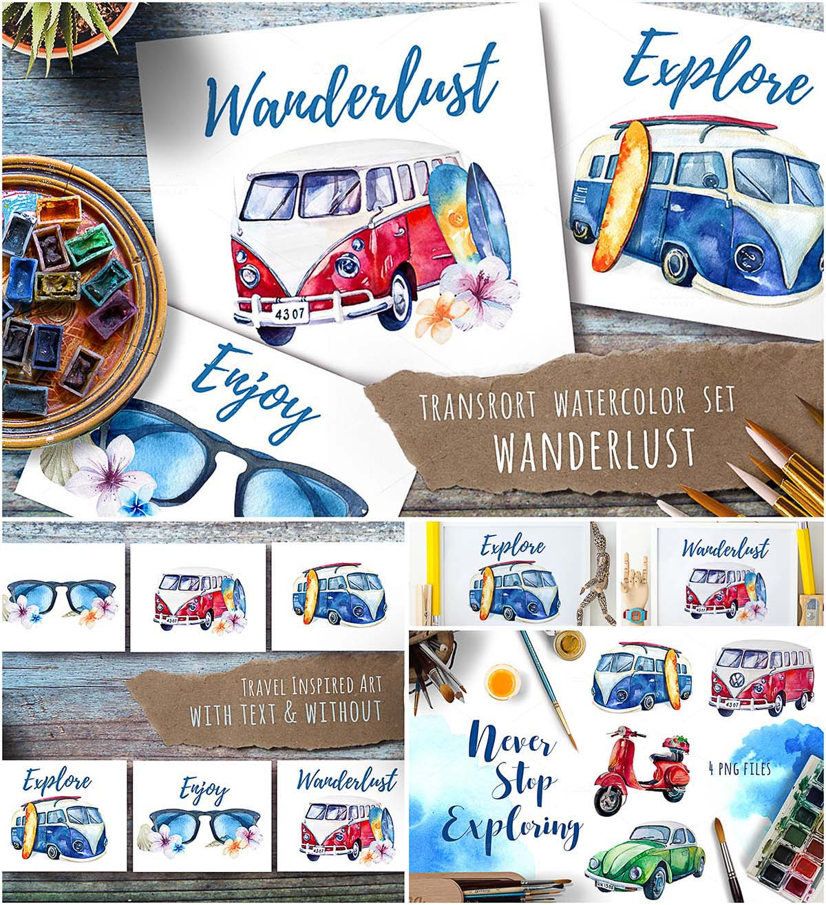 Watercolor travel retro set
