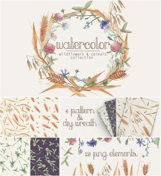 Wildflowers wreaths and patterns set