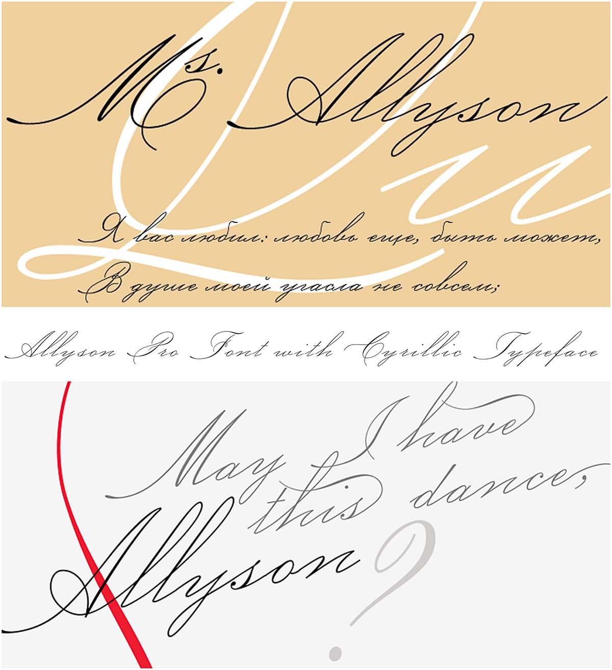 Allyson pro cyrillic typeface