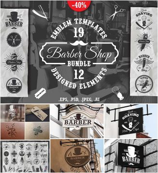 Barber logo and emblems set