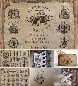 Beer logotypes big set